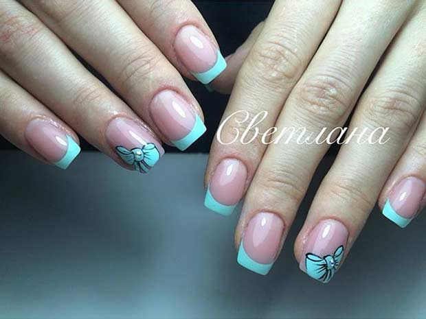 French Tip Nail Design with Bow