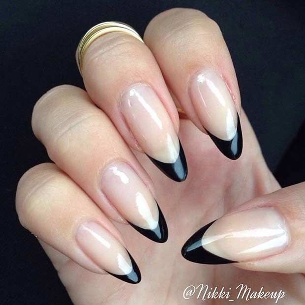 Black French Tips on Stiletto Shaped Nails