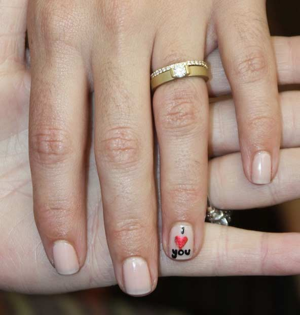 I Love You Wedding Nail Design