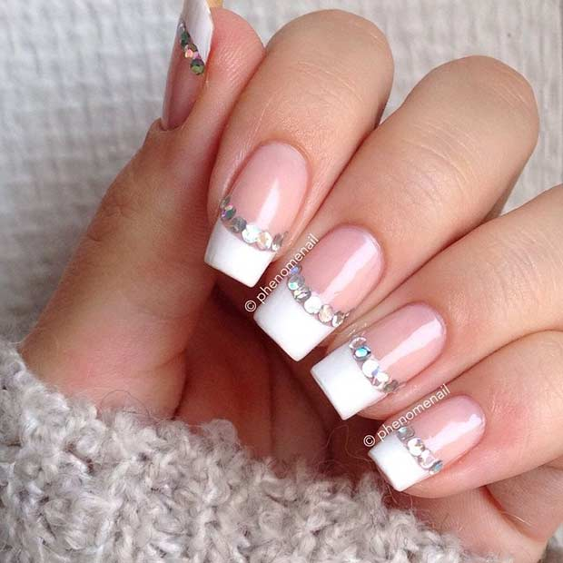 White French Tip Nails with a Pop of Silver