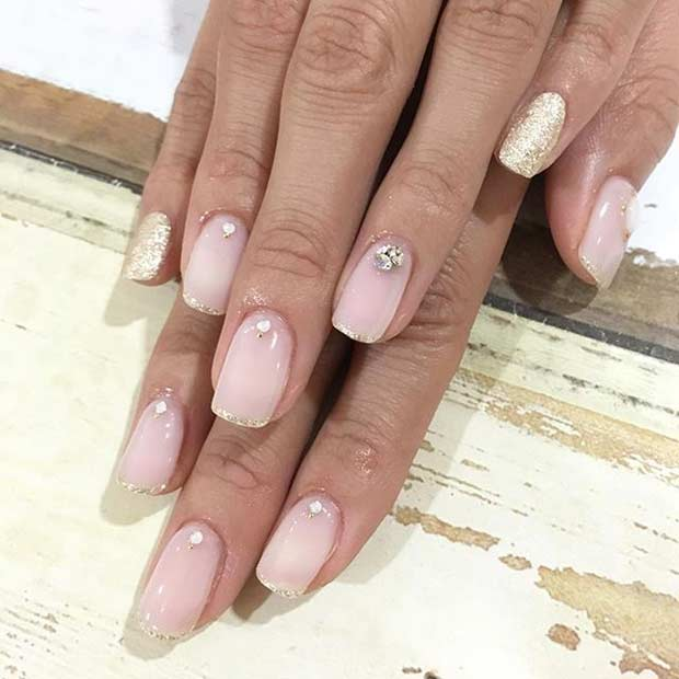 Gold Glitter French Tip Wedding Nail Design