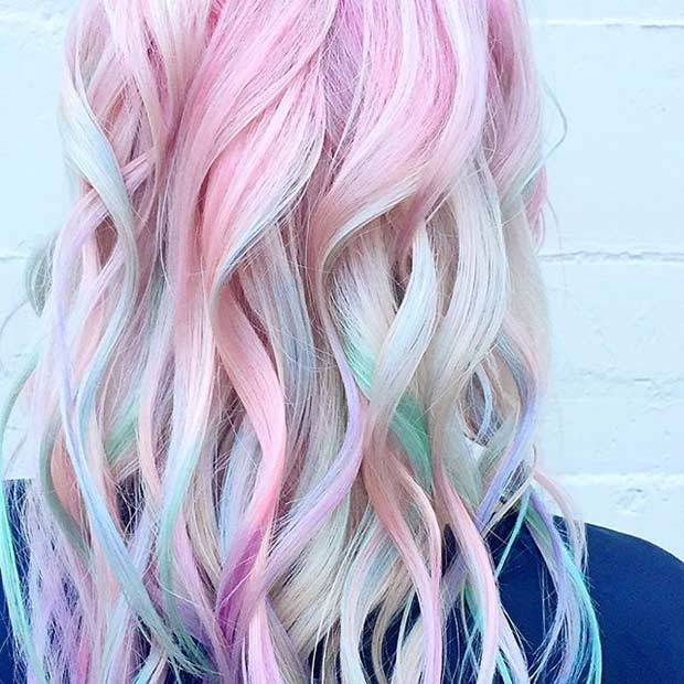 Rainbow Pastel Hair Color for Blondes