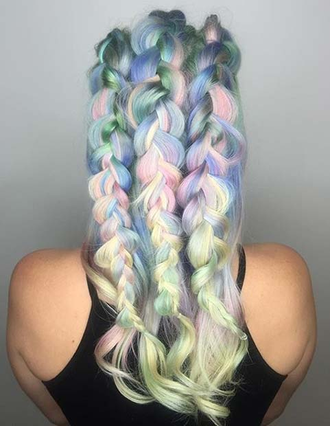 Pastel Hair with Braids