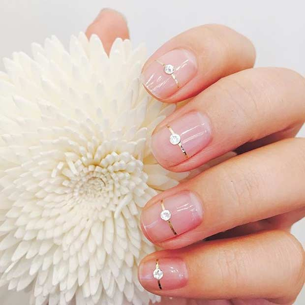 Simple Natural Wedding Nails