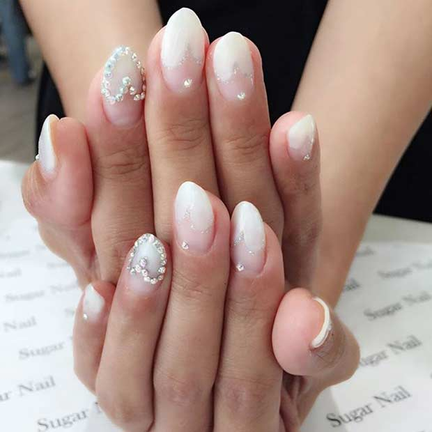 Heart Tips Wedding Nail Design