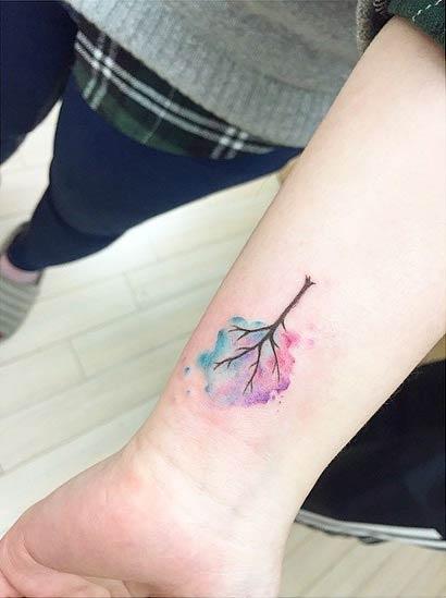 Watercolor Tree Wrist Tattoo