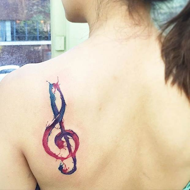Watercolor Music Tattoo for Women