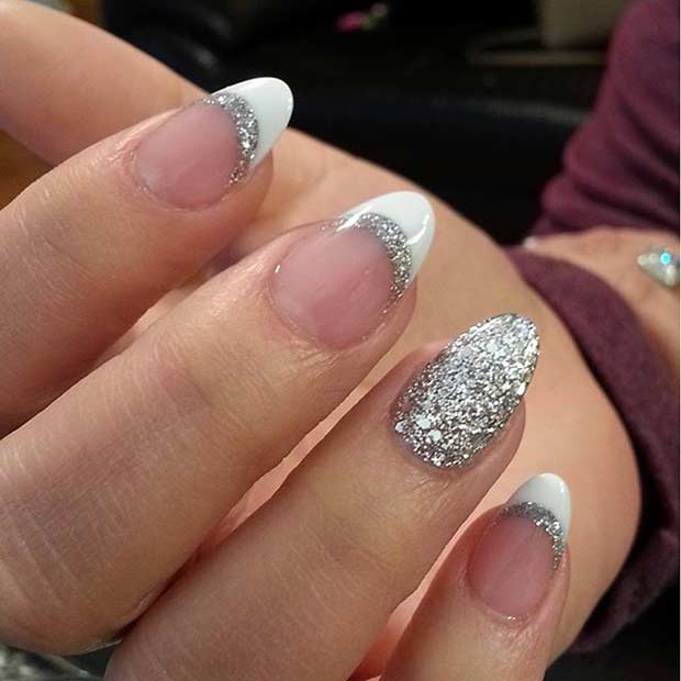 White and Sparkly Silver French Tip Nails - 31 Cool French Tip Nail Designs Page 3 Of 3 StayGlam