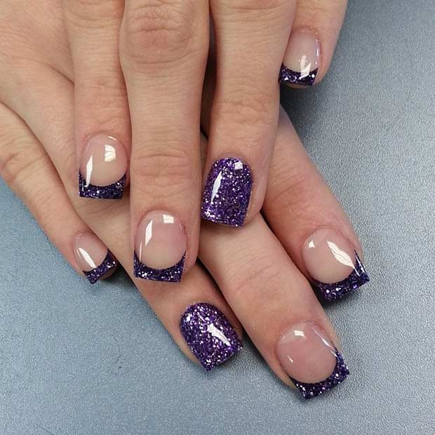 Sparkly Purple French Tip Nail Design