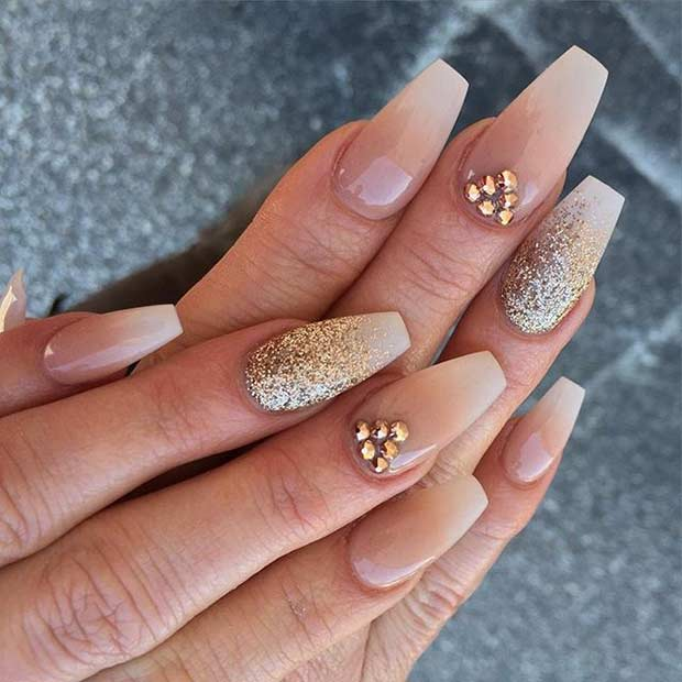 Neutral Coffin Nail Design with Gold Glitter - 31 Trendy Nail Art Ideas For Coffin Nails StayGlam