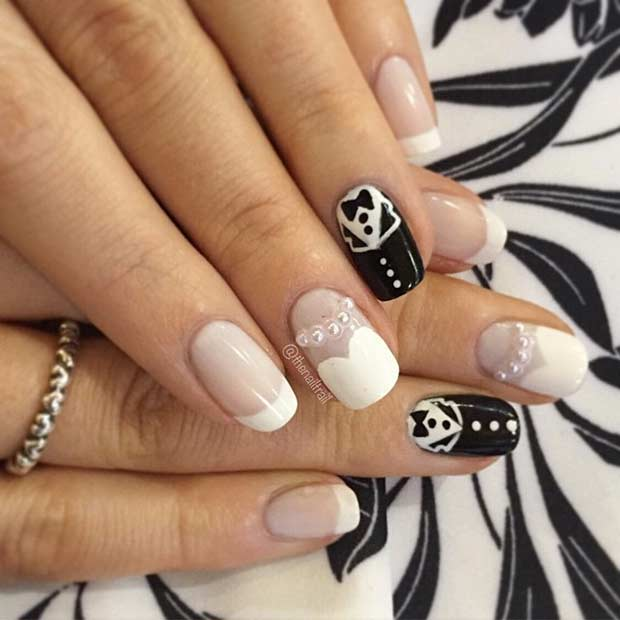 Cute Bride and Groom Wedding Nail Design - 31 Elegant Wedding Nail Art Designs StayGlam