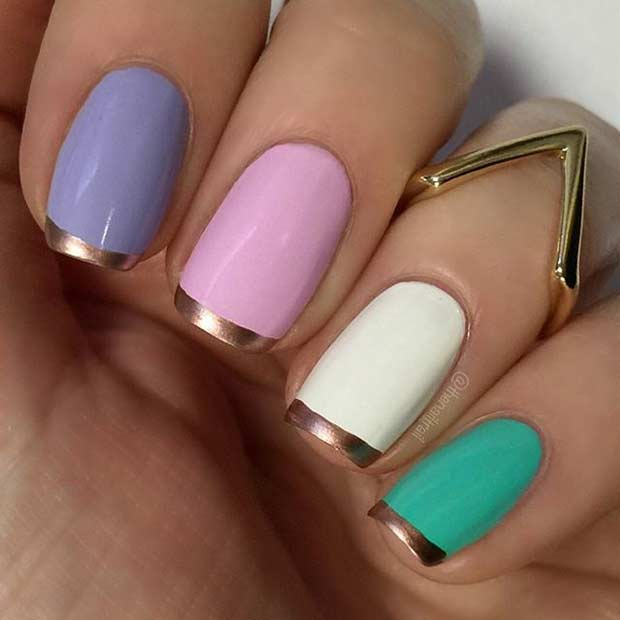 31 cool french tip nail designs stayglam colorful nails with rose gold french tips prinsesfo Image collections