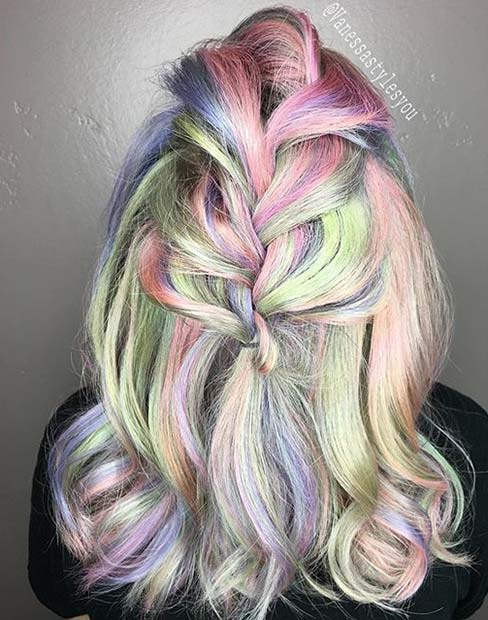 Rainbow Pastel Hair Color for Mid Length Hair