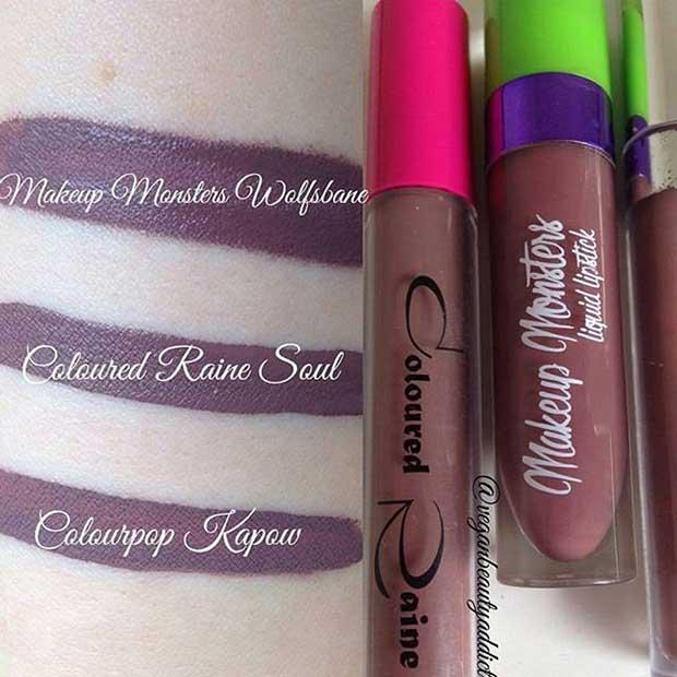 Purple Brown Lipstick Swatches