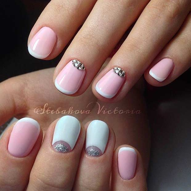Pink and White French Tip Nail Design