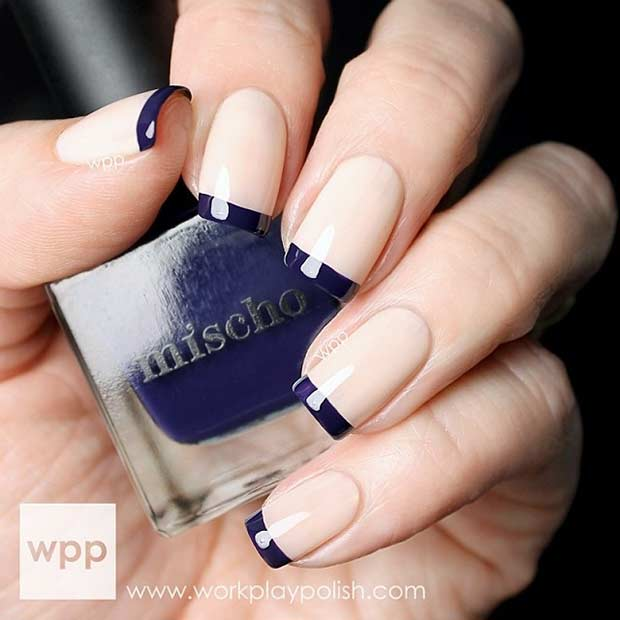 31 cool french tip nail designs stayglam navy blue french tip nails prinsesfo Gallery