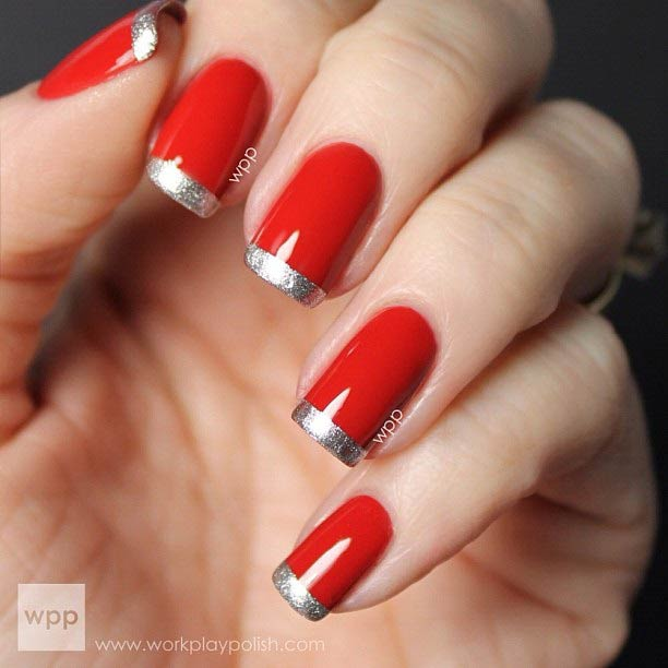 Red and Silver Glitter French Tip Nails