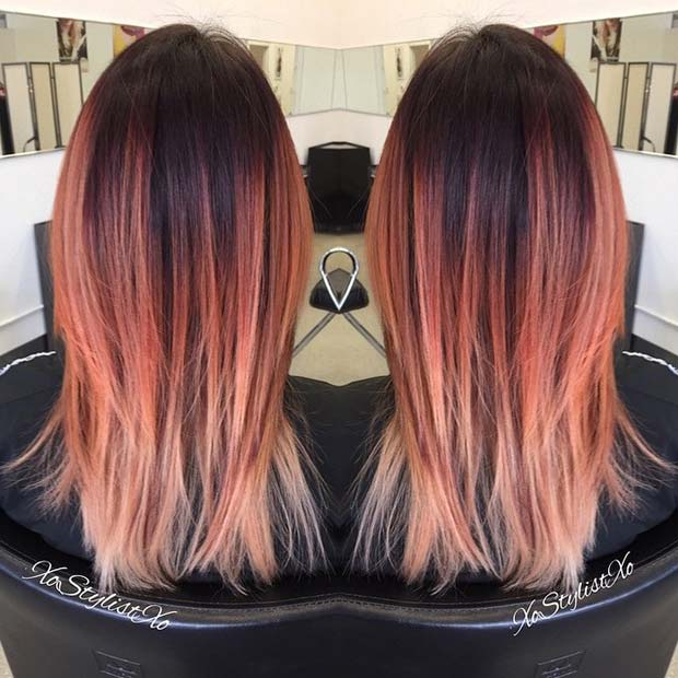 Apricot Balayage Hair for Summer