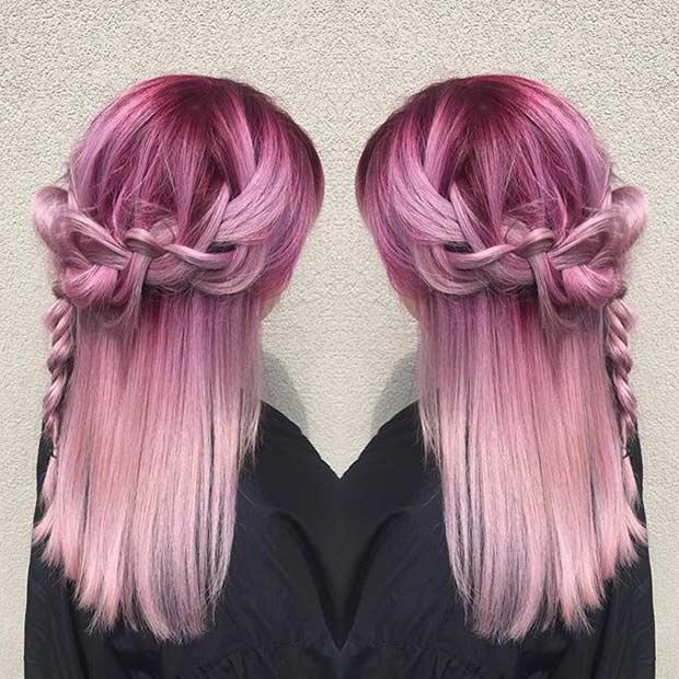 Magenta to Pastel Pink Hair