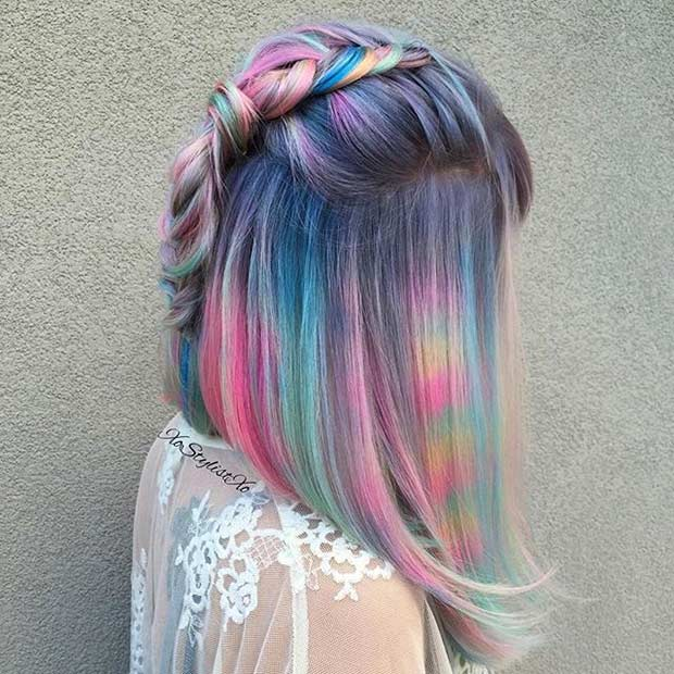 Short Pastel Rainbow Hair