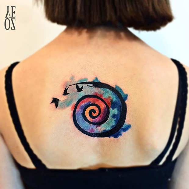 Abstract Watercolor Tattoo Idea for Women