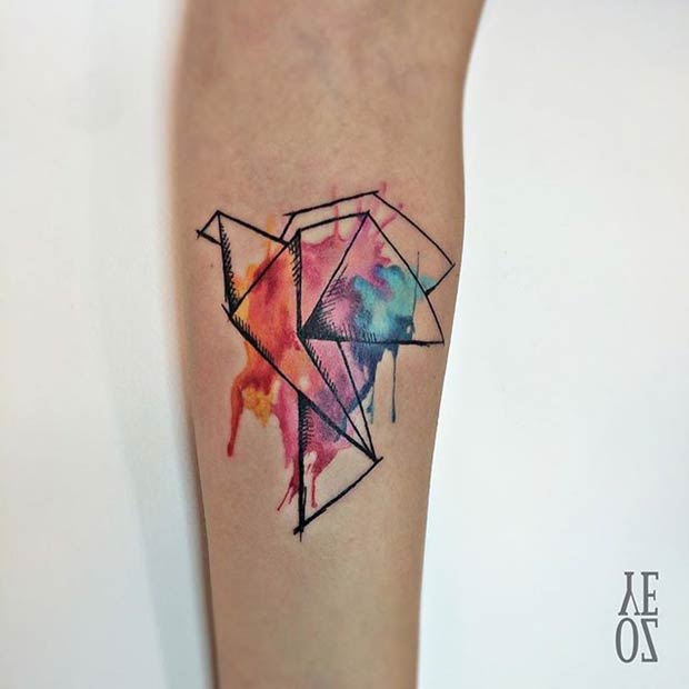 Origami Elephant Tattoo