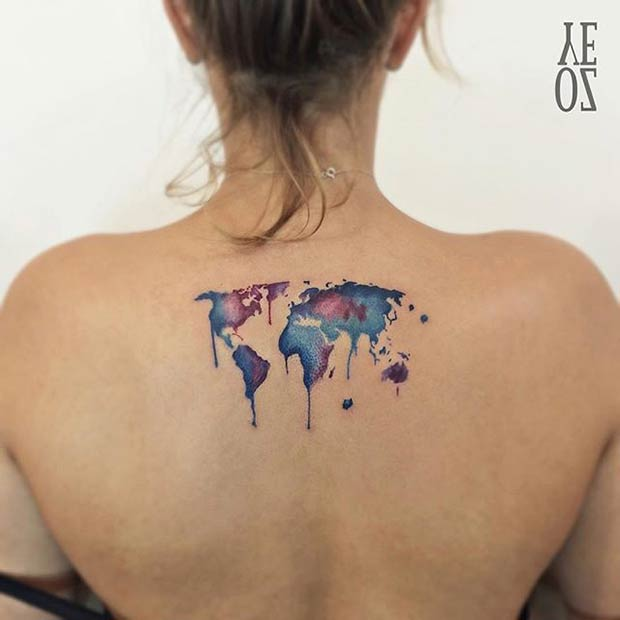 World Map Watercolor Tattoo