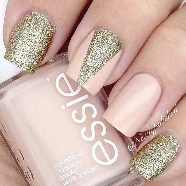 Peach and Golden Glitter Nail Art Design