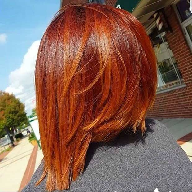 Short Orange Red Inverted Bob Haircut