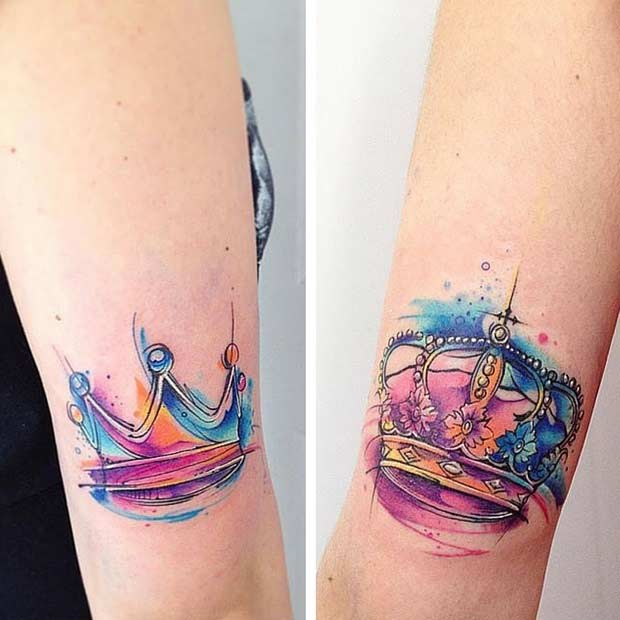 Watercolor King and Queen Tattoos