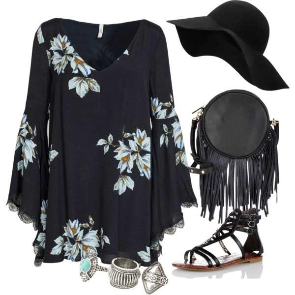 Floral Print Bohemian Dress Coachella Outfit