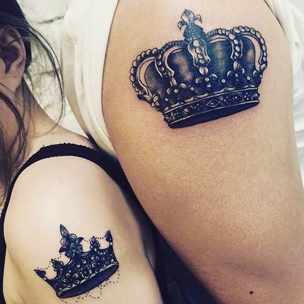 King and Queen Arm Tattoos for Couples