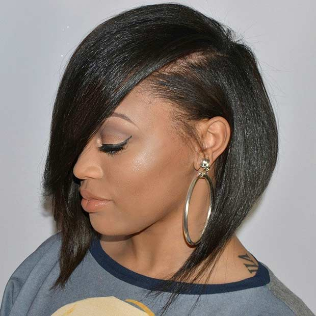 Inverted Bob Haircut for Black Women