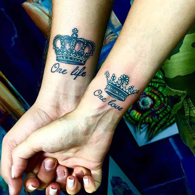 Cool King and Queen Wrist Tattoos