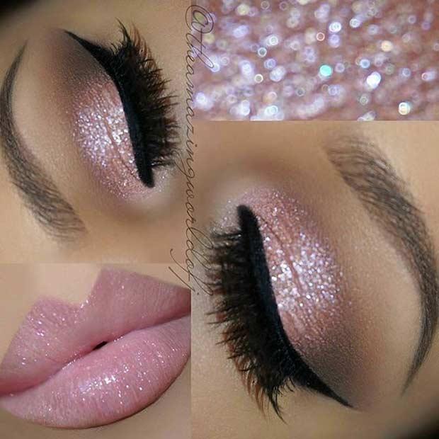 Pink Glitter Eyes Wedding Makeup Look