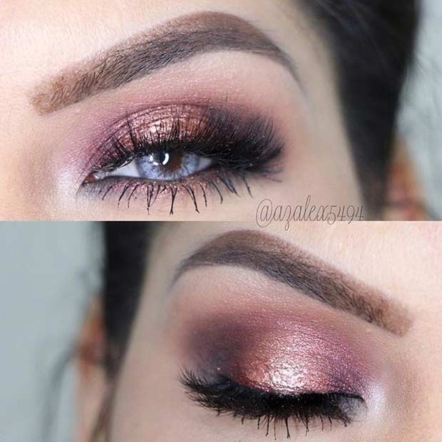 Rose Gold Smokey Eye for Blue Eyes