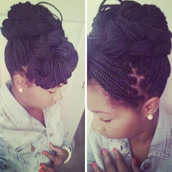 Micro Braids Updo Style