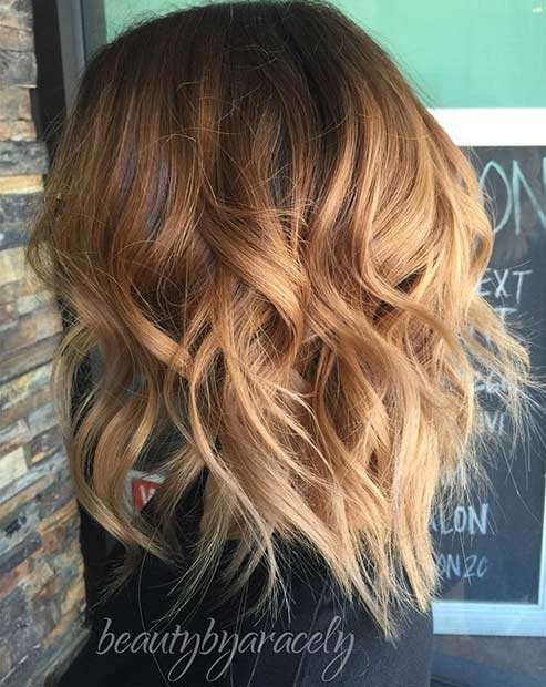 Caramel Shoulder Length Bob Haircut with Layers