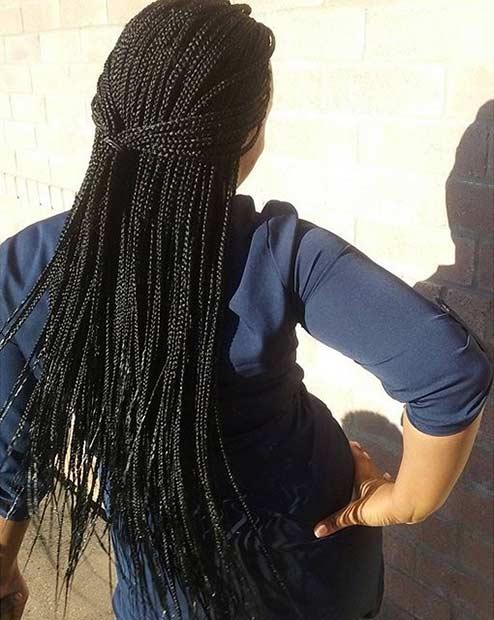 Simple Micro Braids Half Updo Style