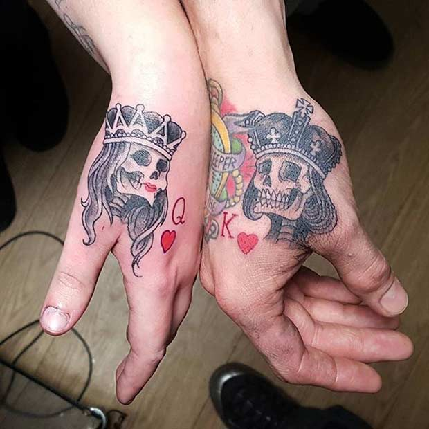 Skulls with Crowns Couple Tattoos Idea