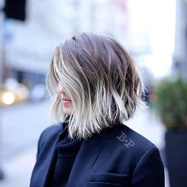Short Blonde Ombre Bob Haircut