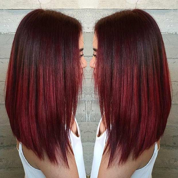 Dark Red Medium Length Hairstyle