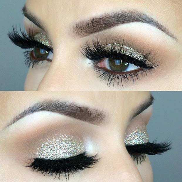 Sparkly Wedding Eye Makeup Look for Brides