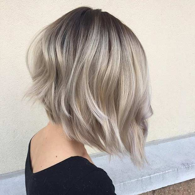 Short Blonde Inverted Bob Hairstyle