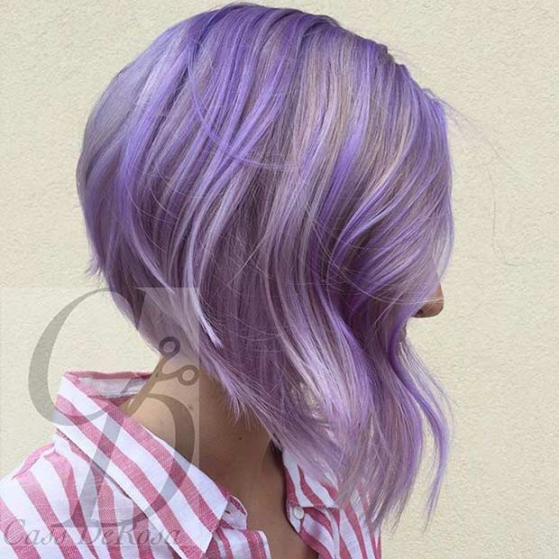 Pastel Purple Inverted Bob Haircut