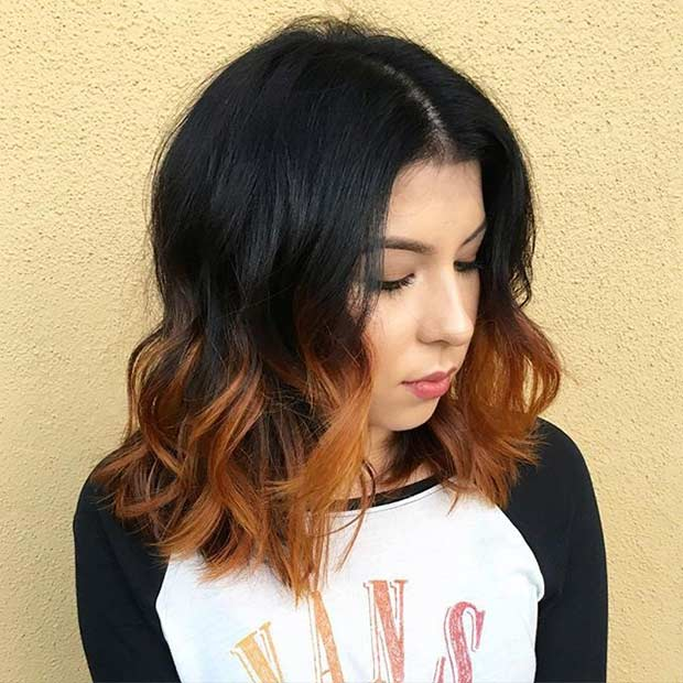 Burnt Orange Ombre Shoulder Length Bob Haircut