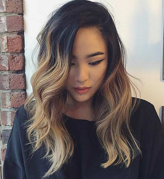 Caramel Ombre Medium Hair Cut