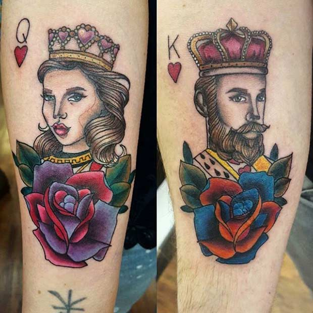 Colorful King and Queen Card Tattoos for Couples