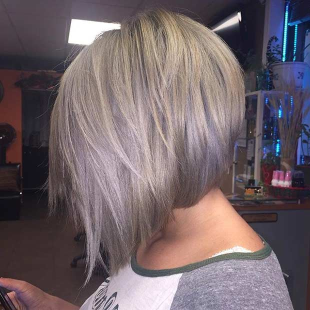 Gray Inverted Bob Haircut
