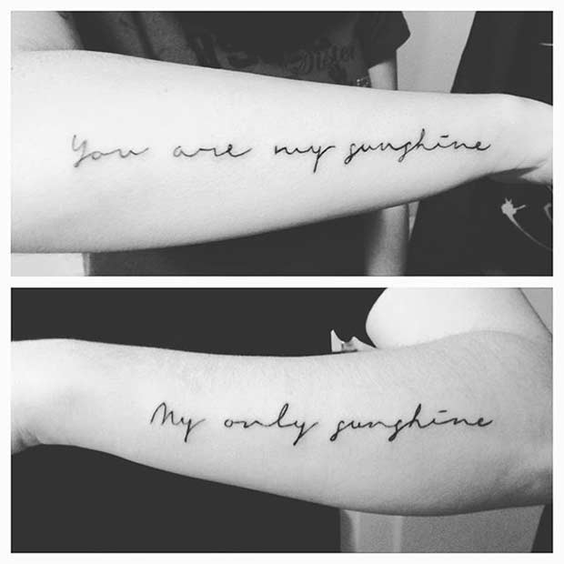 Romantic Quote Couple Arm Tattoos